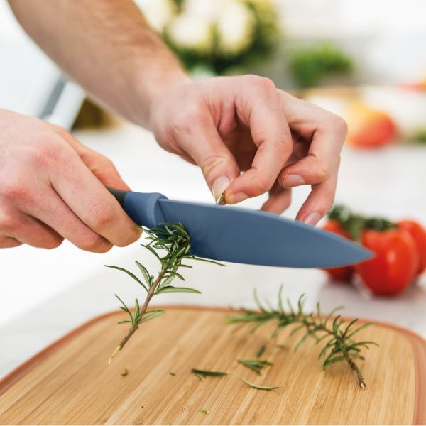 Small chef's knife with herb stripper blue 14 cm - Leo