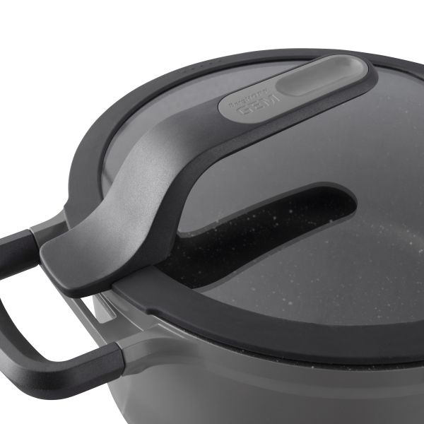 Covered stay-cool stockpot grey 24 cm - Gem